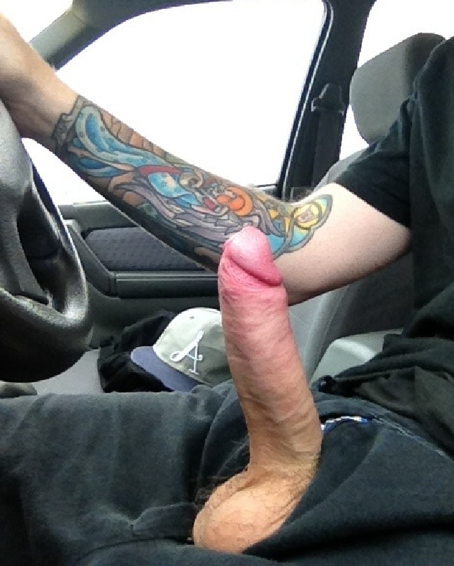 Horny Man Have His Hard Cock Out In A Car - Nude Man Pictures